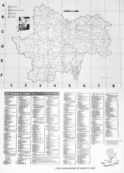 Carte de Saône-et-Loire
